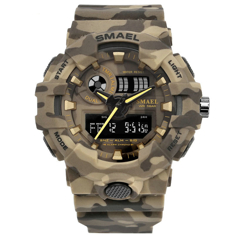SMAEL 8001 Men Quartz & Digital Watch Camouflage Military Sport Watches LED Clock Wristwatch Waterproof фото