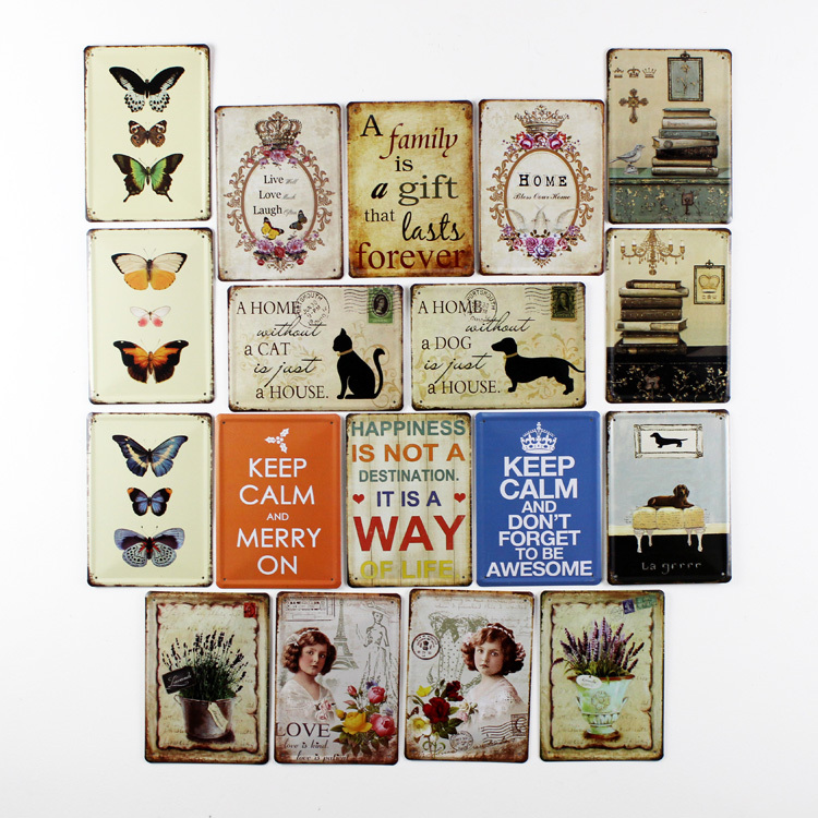 Metal Pub Wall Tavern Garage Shabby Chic Decor Home Shop Vintage Sign Tin Plaque Dog Cat Butterfly Family Wall Art Decor