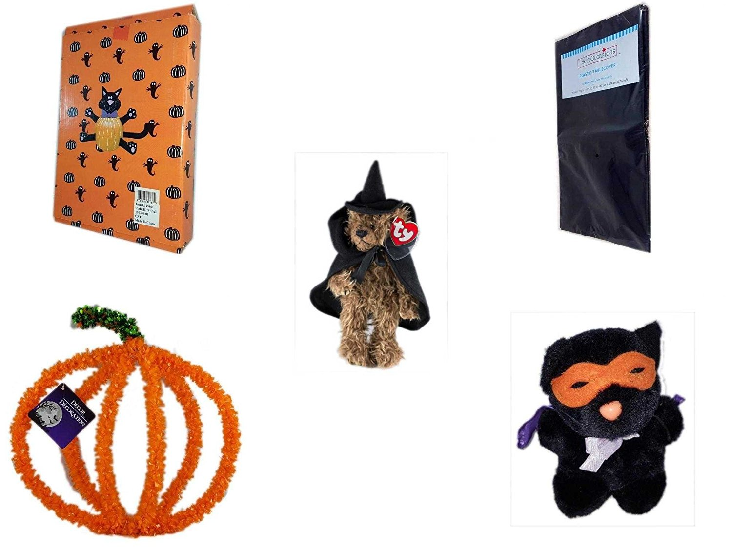 "Halloween Fun Gift Bundle [5 piece] - Halloween Cat Pumpkin Push In 5 Piece Head Arms Legs - Black Plastic Table Cover Halloween - Ty Attic Treasures ""Esmerelda"" Witch Bear Plush - Halloween Pumpkin"