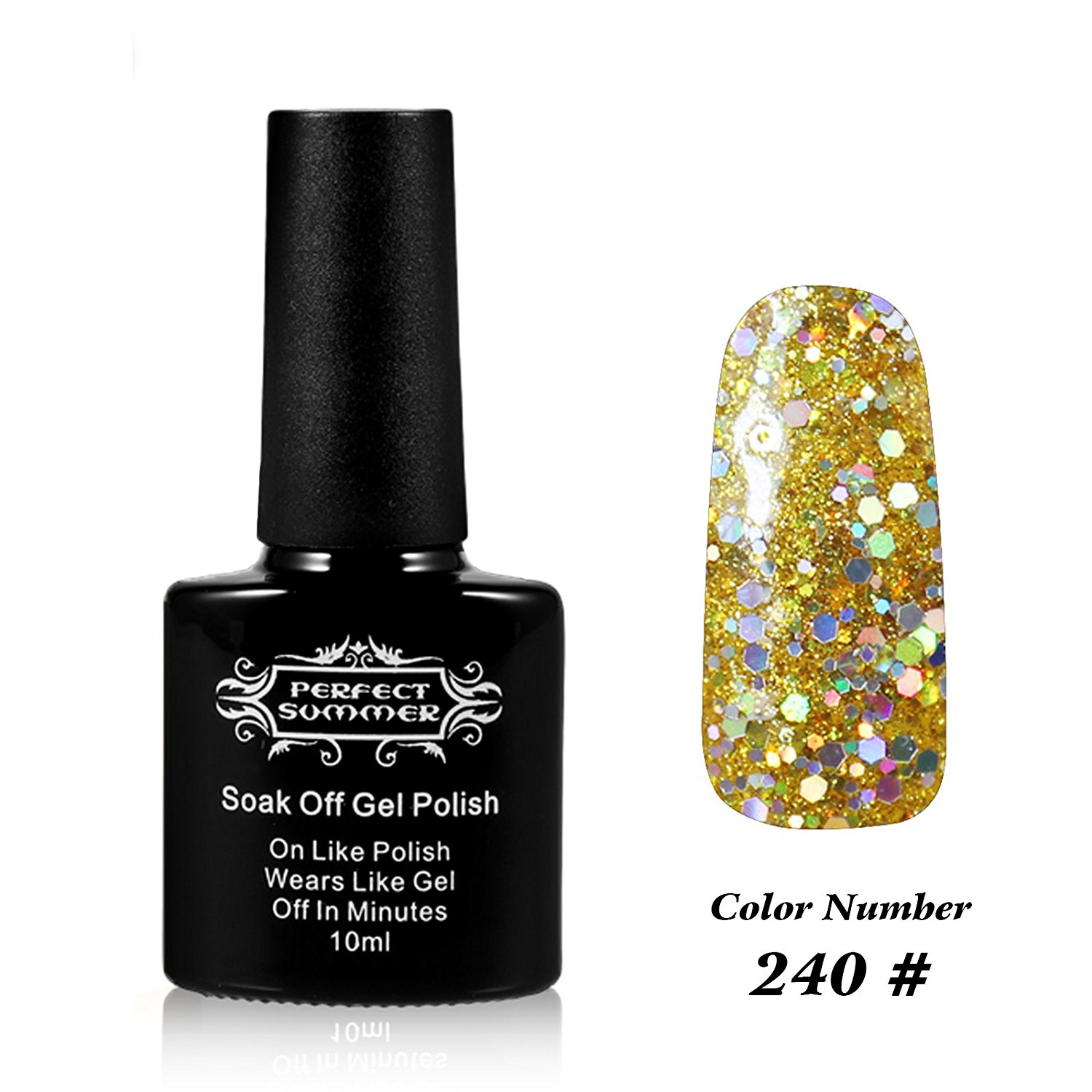 Perfect Summer Salon Nails Art Decoration Gift 10ml Gel Nails Polish UV Led Light Soak Off Creative French Manicure Nails Lacquers for Girls #240 glitter gold
