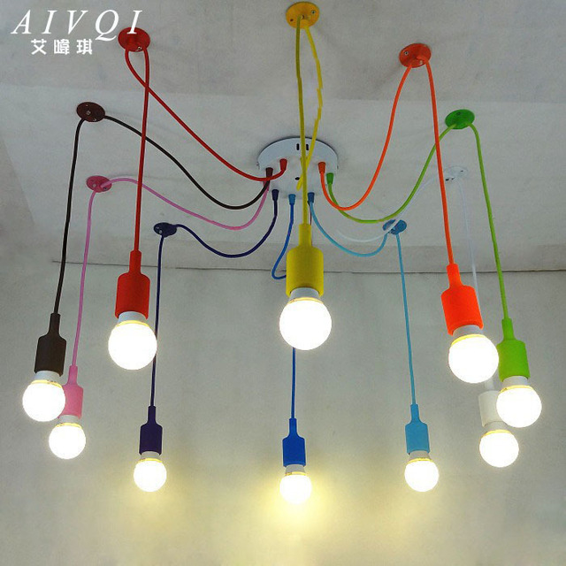 silicone colorful pendant lights diy multi color e27 bulb. Black Bedroom Furniture Sets. Home Design Ideas