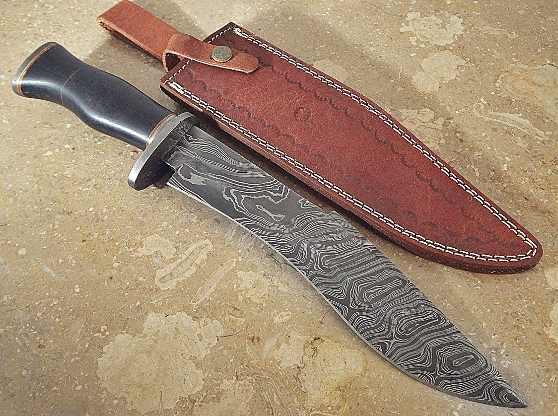 ColdLand Knives | One-of-a-Kind 15'' Custom Handmade Damascus Steel Bowie Hunting Knife HH09