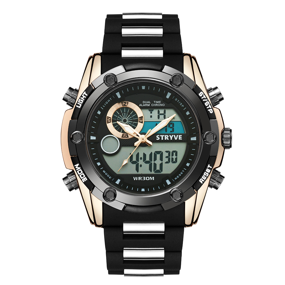 Hot Sale Dual Time Watches For Men Quartz Digital Clock Stryve 8006 Brand Military Big Dial Waterproof Swim Sports Men Led Watch фото
