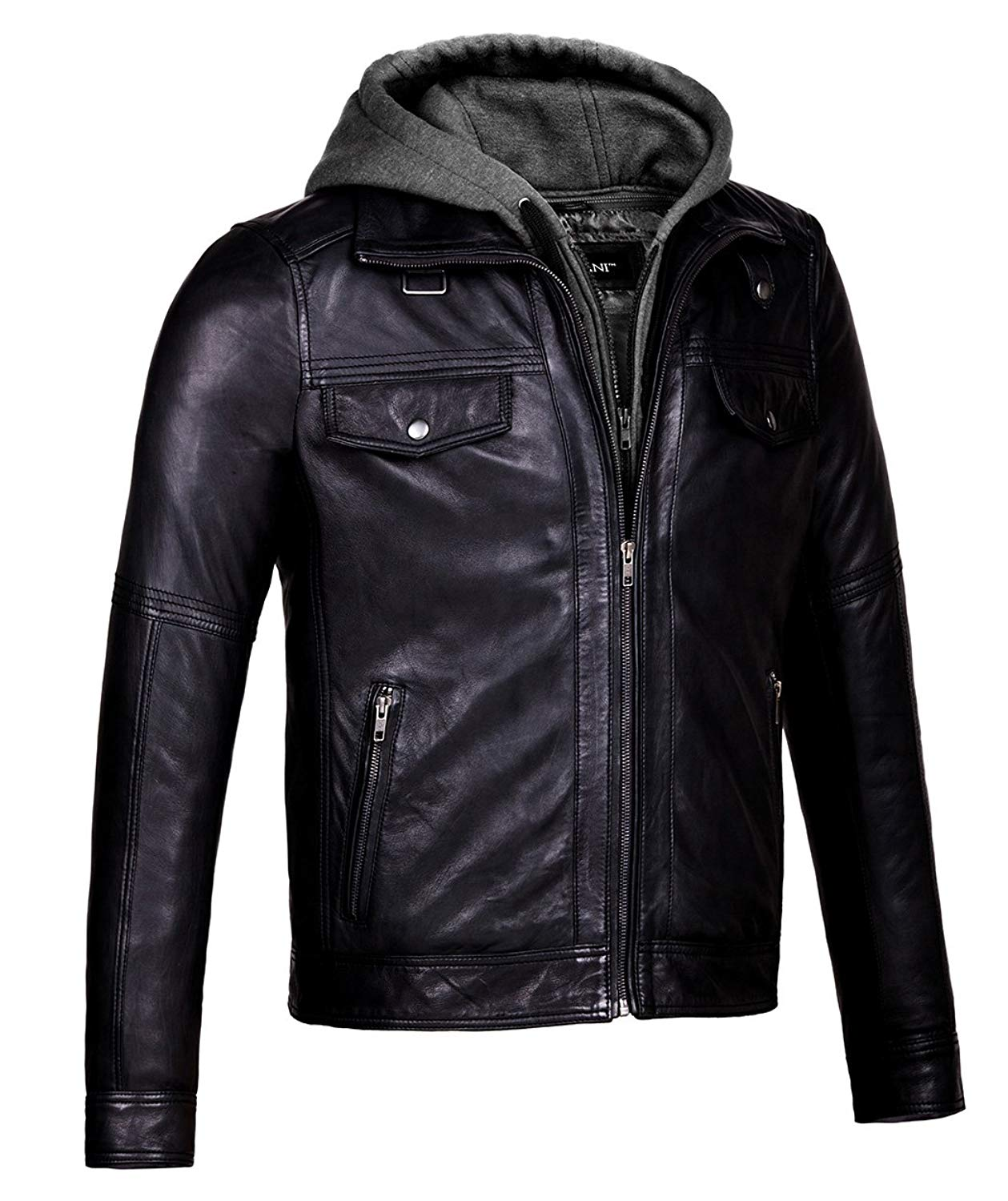 ZumZup Mens Bomber Jacket Pilot Jacket Faux Leather Gray Zipper