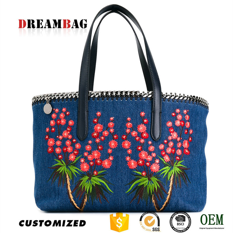 GZ Dreambag OEM embroidery jeans hand bag handbags