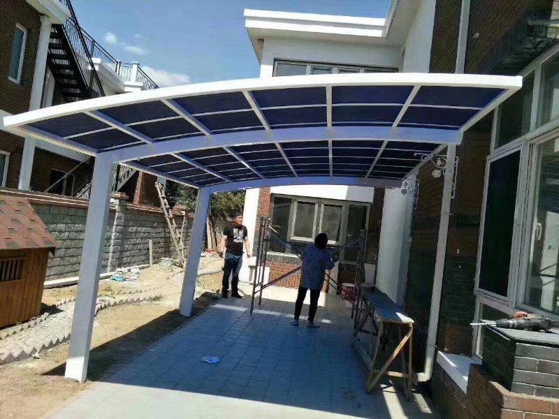 Nuevo diseño moderno, estación de autobuses para hotel al aire libre, uso de jardín, cobertizo de estacionamiento de coches de aluminio, cobertizo para el sol del garaje
