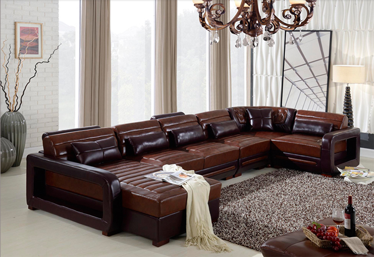 Top Quality Royal Design Sectional Corner Genuine Leather Sofa Furniture 10 Seater Set For Living
