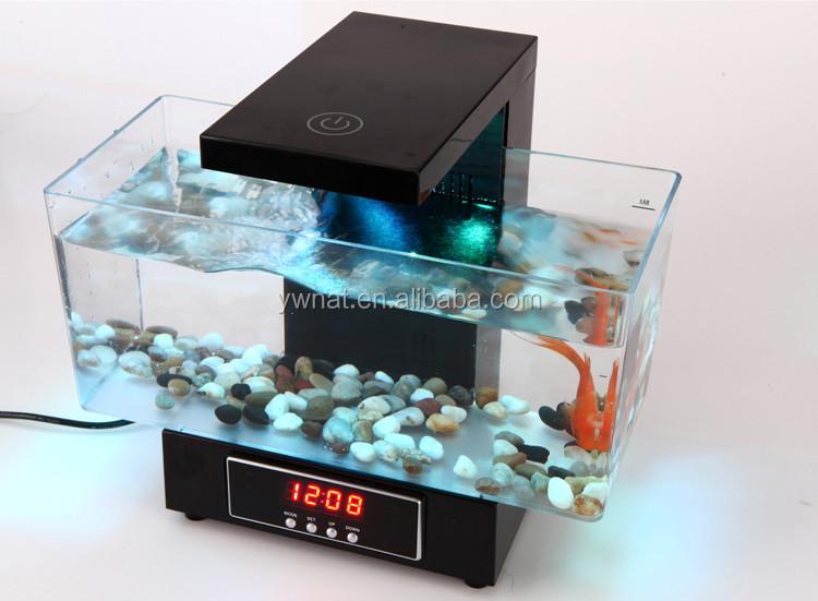 Superior Multifunctional LED USB Desktop Aquarium Mini Aquariums Fish Tank With  Touch LED Table Lamp/ Alarm