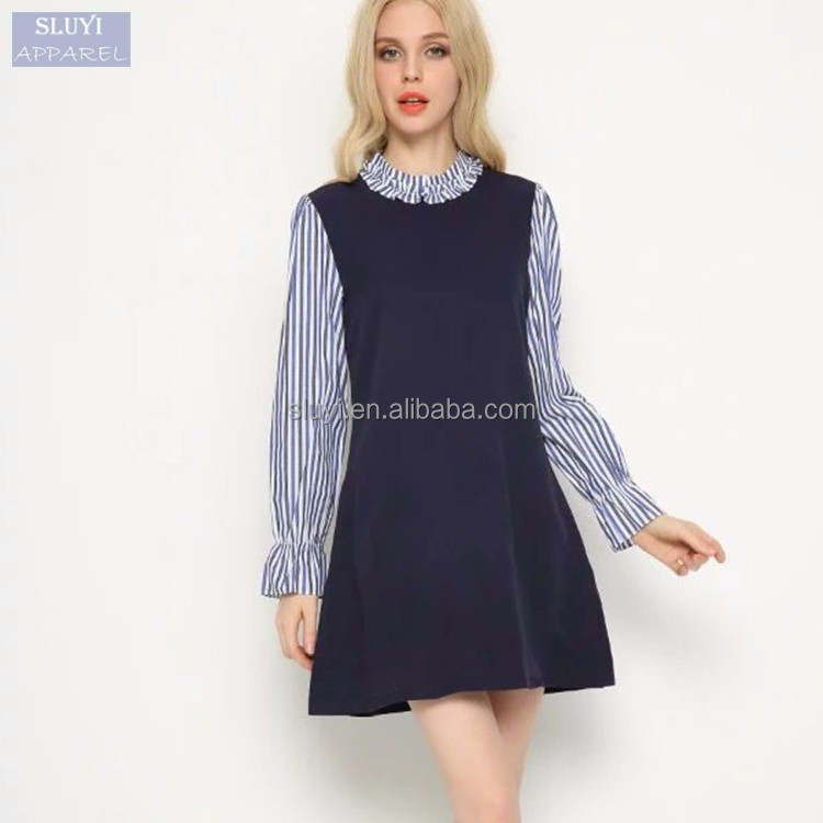 e701fcef3dfbe المرأة الغربية فساتين أسماء مخطط طويل كم تقسم فستان كشكش راجلان ثوب  القياسية طوق خمر الرجعية
