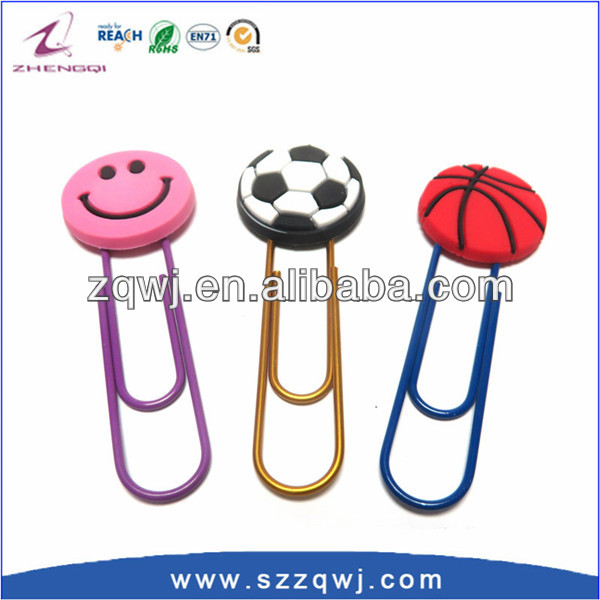 Customized 3D Soft PVC Designer Paper <strong>Clips</strong> Manufacturer from china