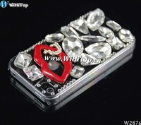 For iPhone 5 5G Luxury Rain Drop Diamond Cute Bling Hard Case With Red Flips.