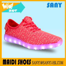 Fashion fly knit led shoes for kids