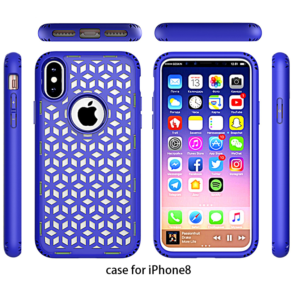 PC and TPU mobile phone cover Grid Cushion Case for iphone X , For iphone X hard case