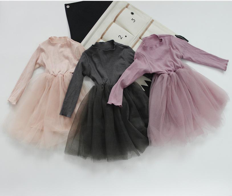 Hu Sunshine Wholesale spring Girls kids solid pink beige gray mesh dress фото