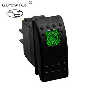12v 20 Amp Waterproof Green LED On/off Boat Marine SPST 3Pin Rocker Switch with Light - Green LED