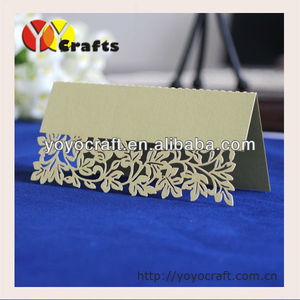 beautiful leaves new design paper laser cut birthday party table seat place card with free logo wedding table card number