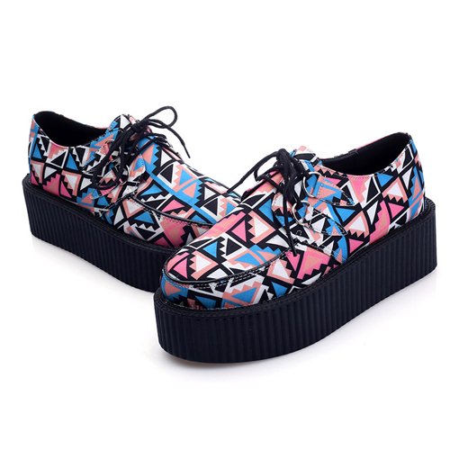 12ccb0cd846 Get Quotations · Free shipping women creepers high heel flats lace up platform  shoes ladies wedge boat shoes goth