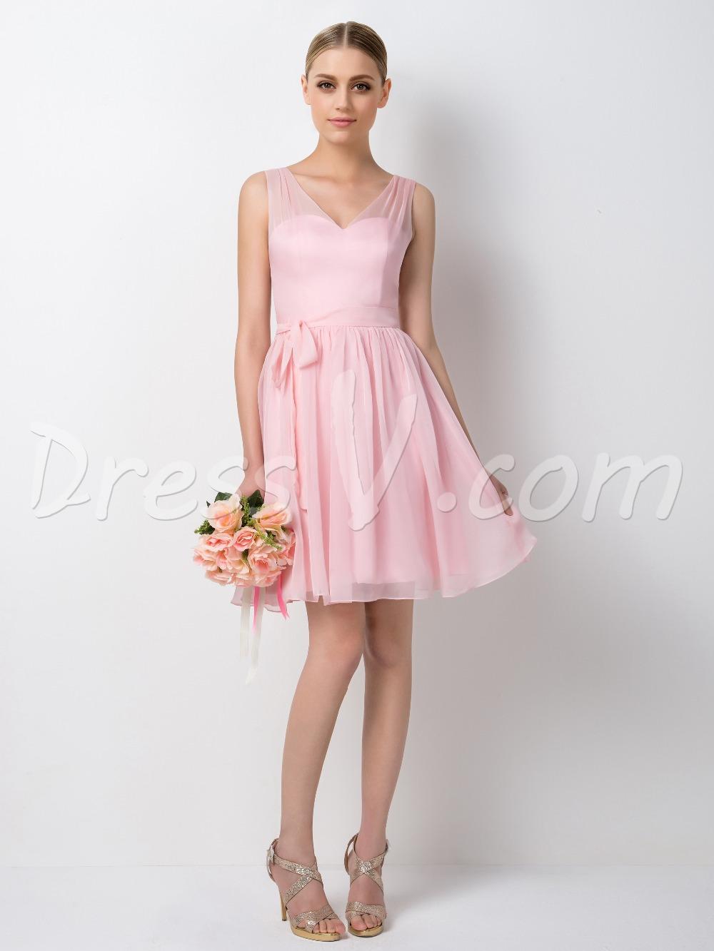 hot vente v neck bretelles a line short rose robe de. Black Bedroom Furniture Sets. Home Design Ideas