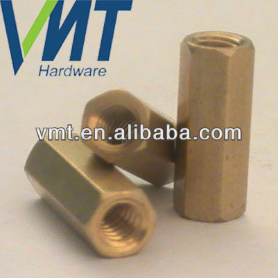 industrial metal parts precision hex threaded brass spacer nut