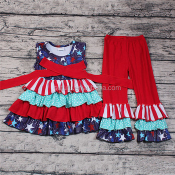 2018 Sue Lucky Kids New Design USA National Patriotic Girls Summer 2pc Set Outfits Clothing