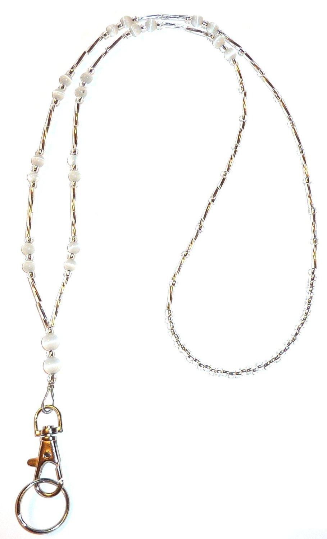 """Women's Fashion Lanyard Simple White (Ultra light & Slim) Beaded Lanyard 34"""" Super strong for keys, Badge holder"""