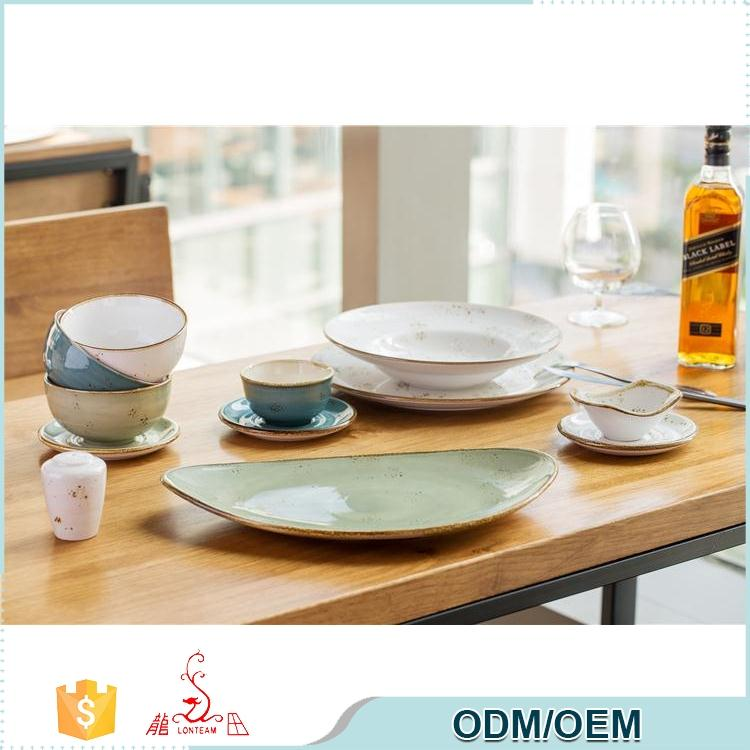 Modern designs spanish ceramic color glazed turkish dinnerware set porcelain
