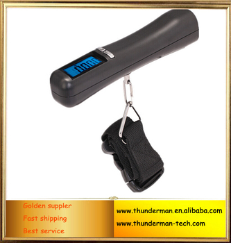 Electronic digital 50kg hanging luggage scale with blue LED backlight