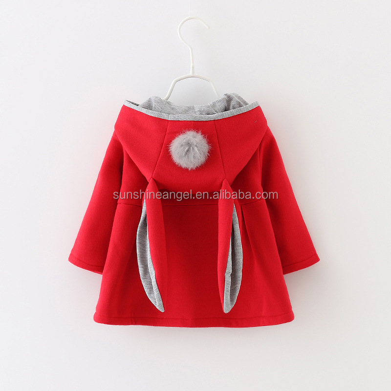 Fall Winter New Fashion 3 Colors Cotton Rabbit Ears Baby Girl Winter Coat фото