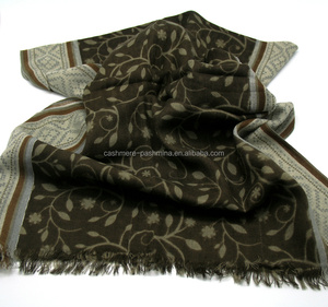 The Newest Pattern High Quality 100% Fine Wool Thin Printed Mens Pashmina Shawl