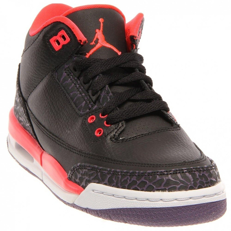 Boys Grade School Black Red Air Jordan Retro 3 Basketball Shoes Size 3.5Y