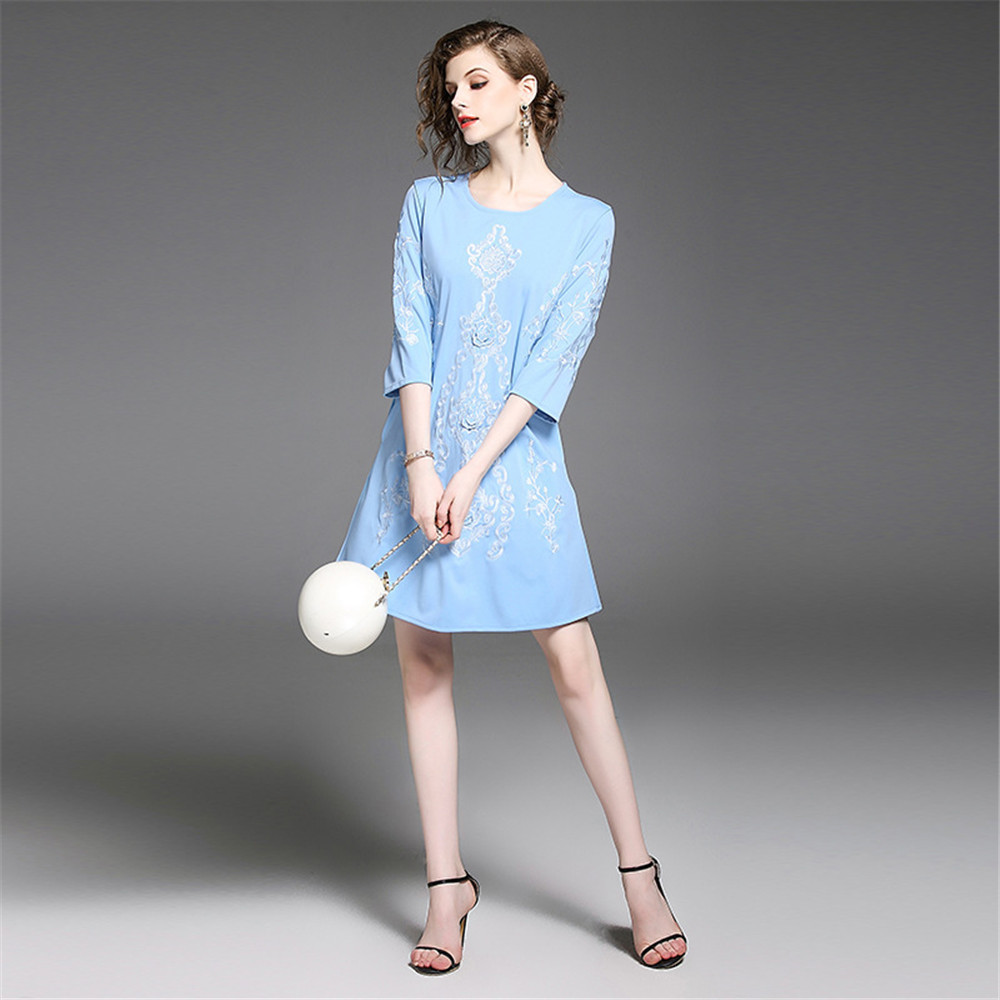 Fashion autumn woman clothes cheap printing flower three quarter sleeve lady dress