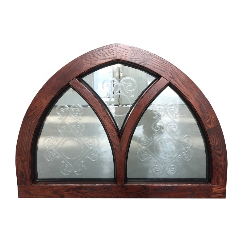 red oak wood arch window aluminium fixed arched transom carving glass window design window