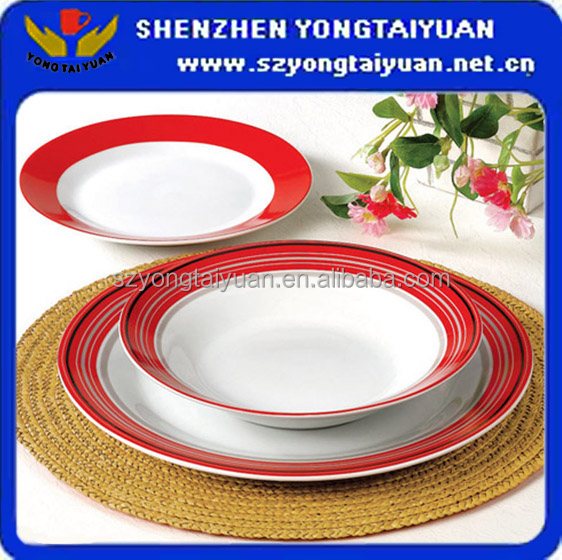 Chinese red half decal fine ceramic dinner plates
