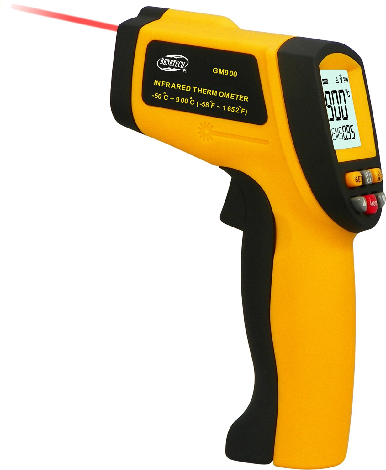 CACHOR GM900 Non-Contact IR Digital Infrared Thermometer Laser Point -50°C to 900°C (-58°F to 1652°F) GM900 Non-Contact Precise Digital IR Laser Infrared Pointer Thermometer -50degree to 900 Degree Gu