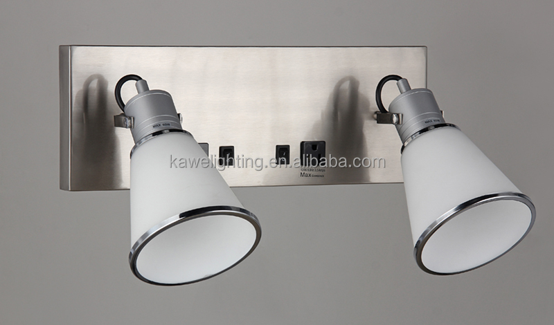 Glass double Wall Lamp with Brushed Nickel Finish with power outlet