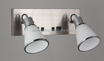 Doppio vetro lampada da parete con nichel spazzolato finitura con