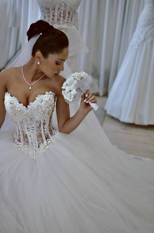 84b74f958e Luxurious Bling Strapless Ball Wedding dresses Corset Bodice Sheer Bridal  Crystal Pearl Rhinestones Tulle Wedding Gowns