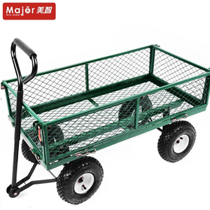 Removable folding sides platform dolly with canopy four wheel wagon /garden cart