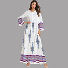 White middle east arabic muslim dubai design islamic clothing prayer abaya long sleeve maxi dress
