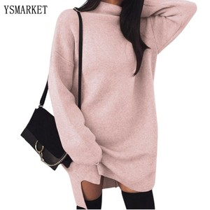 YSMARKET 5 Color Women Loose Casual Dress Female Autumn Winter Long Sleeve Knitted Elegant Sweater Office Work Dresses E2865
