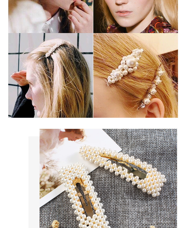 Wholesale Chinese High Quality Fashion Girl Handmade Gold Pearl Hair Clip