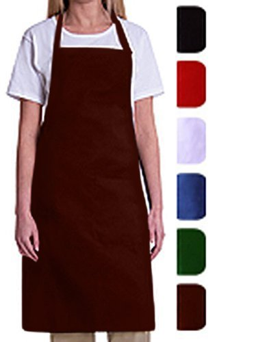 Bib Aprons-MHF Aprons-1 Piece Pack-2 Waist Pockets- New Spun Poly-commercial Restaurant Kitchen-(Wine)