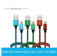 Nylon Braided usb 3.1 type c cable,Colorful Snake Skin Micro Usb Mobile Phone Cable