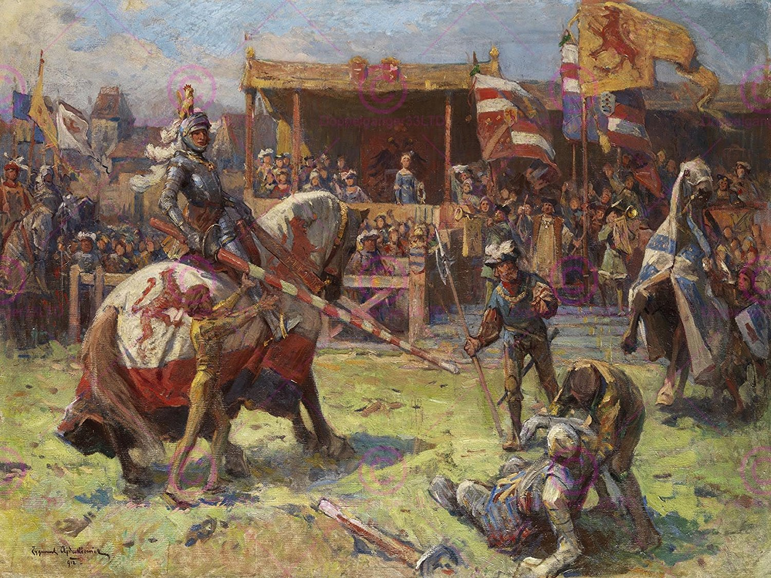 Buy PAINTING LANDSCAPE MEDIEVAL AJDUKIEWICZ JOUSTING ART PRINT POSTER LF577 by Large Posters in Cheap Price on Alibaba.com