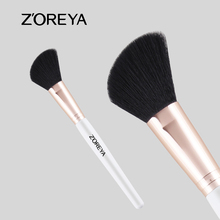 2016 New Shiny Rose Gold Private Label Zoreya Angled Blush Makeup Brush