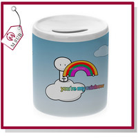 11oz White Coated Ceramic Coin Bank for Sublimation as Personalized Gift