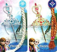 New Frozen Princess Anna & Elsa Magic Wand & Tiara & Wig Comb Dress Up Set H228