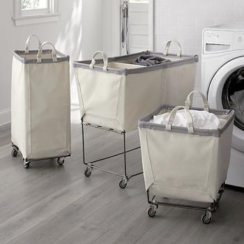 100 Cotton Canvas Laundry Hamper Cart Basket With Wheels
