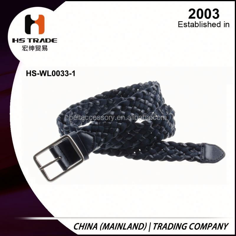Men's High-Grade Striped Canvas Belt Jeans Korean Version Braided Leather Belt