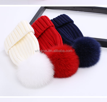 Warm Winter Beanie Hat with Detachable Faux Fur Pom pom, Fashion Girls Winter Beanies